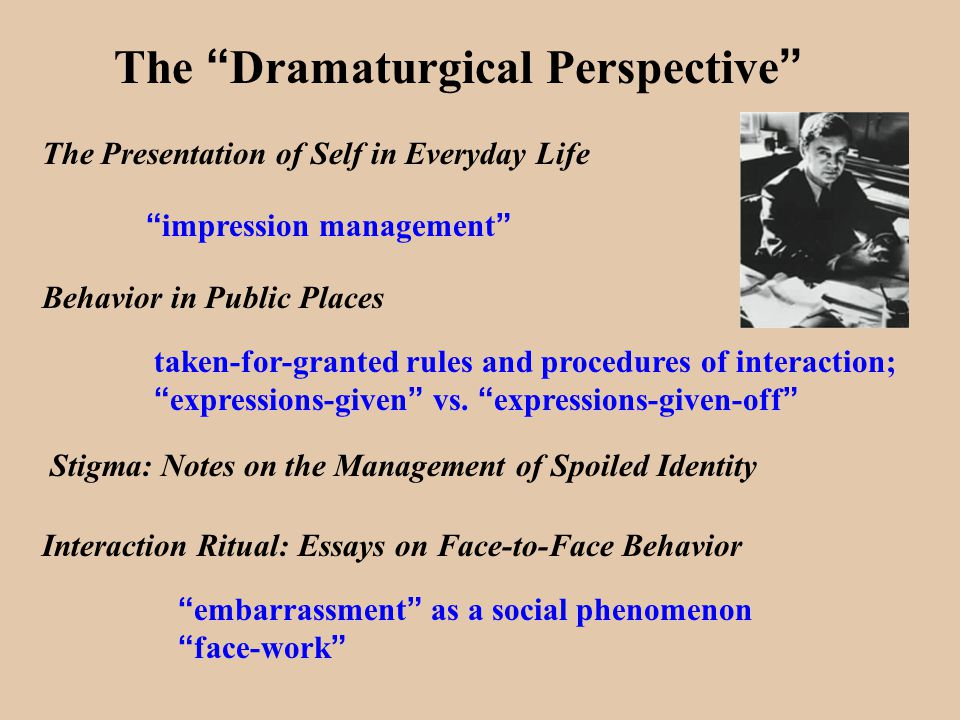write dramaturgical essay We explain goffman's dramaturgical analysis with video tutorials and quizzes, using our many ways(tm) approach from multiple teachers this lesson will detail goffman's dramaturgical analysis.