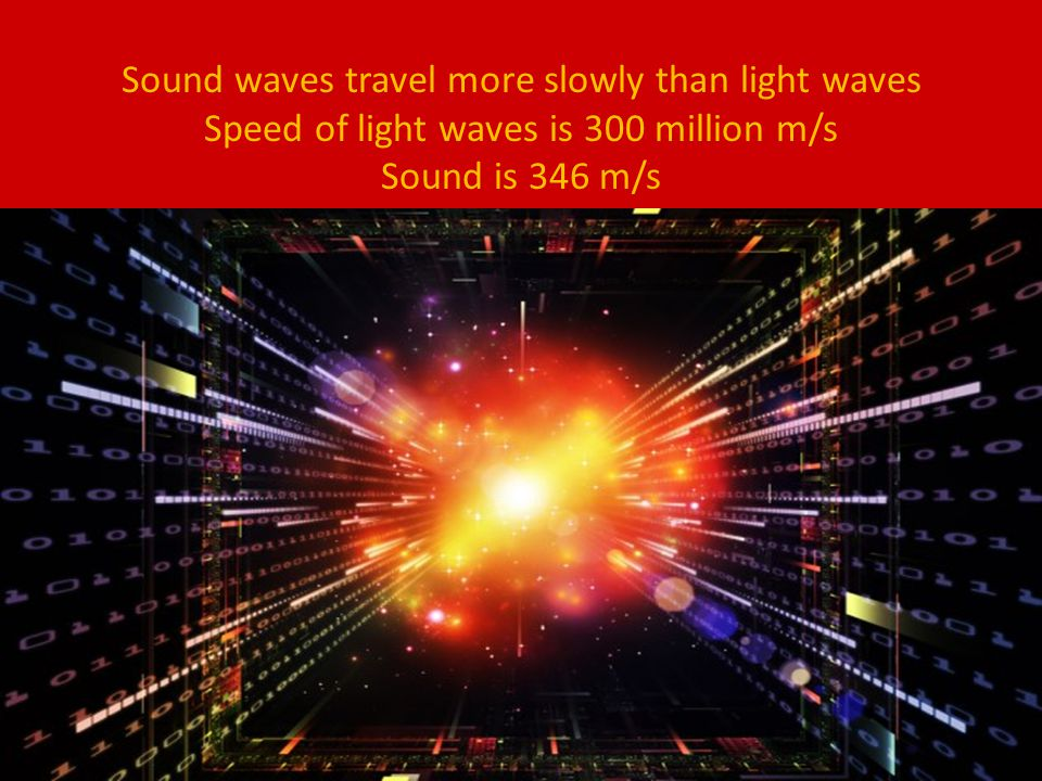 Sound waves travel more slowly than light waves Speed of light waves is 300 million m/s Sound is 346 m/s