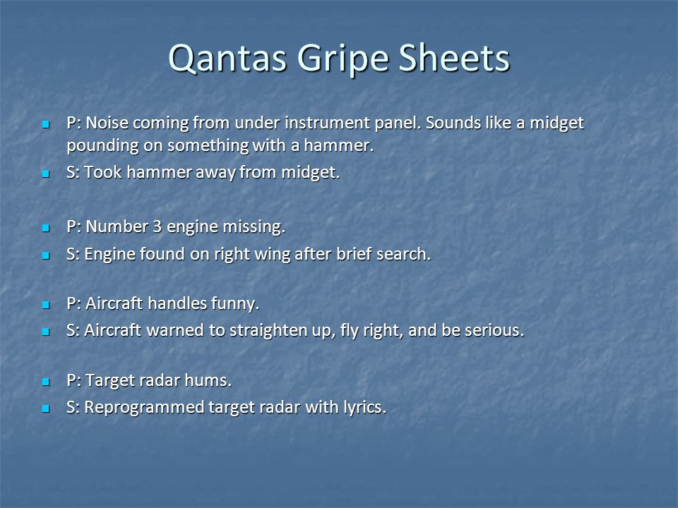 Qantas Gripe Sheets P: Noise coming from under instrument panel.