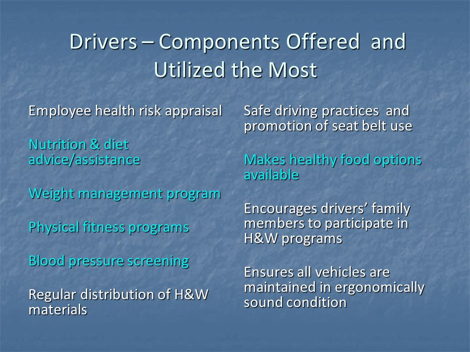 Drivers – Components Offered and Utilized the Most Drivers – Components Offered and Utilized the Most Employee health risk appraisal Nutrition & diet advice/assistance Weight management program Physical fitness programs Blood pressure screening Regular distribution of H&W materials Safe driving practices and promotion of seat belt use Makes healthy food options available Makes healthy food options available Encourages drivers' family members to participate in H&W programs Ensures all vehicles are maintained in ergonomically sound condition