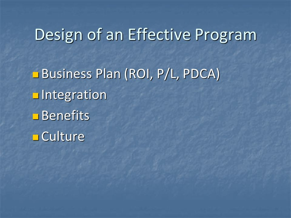 Design of an Effective Program Business Plan (ROI, P/L, PDCA) Business Plan (ROI, P/L, PDCA) Integration Integration Benefits Benefits Culture Culture