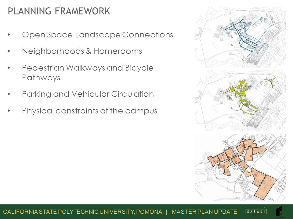CALIFORNIA STATE POLYTECHNIC UNIVERSITY, POMONA | MASTER PLAN UPDATE PLANNING FRAMEWORK Open Space Landscape Connections Neighborhoods & Homerooms Pedestrian Walkways and Bicycle Pathways Parking and Vehicular Circulation Physical constraints of the campus