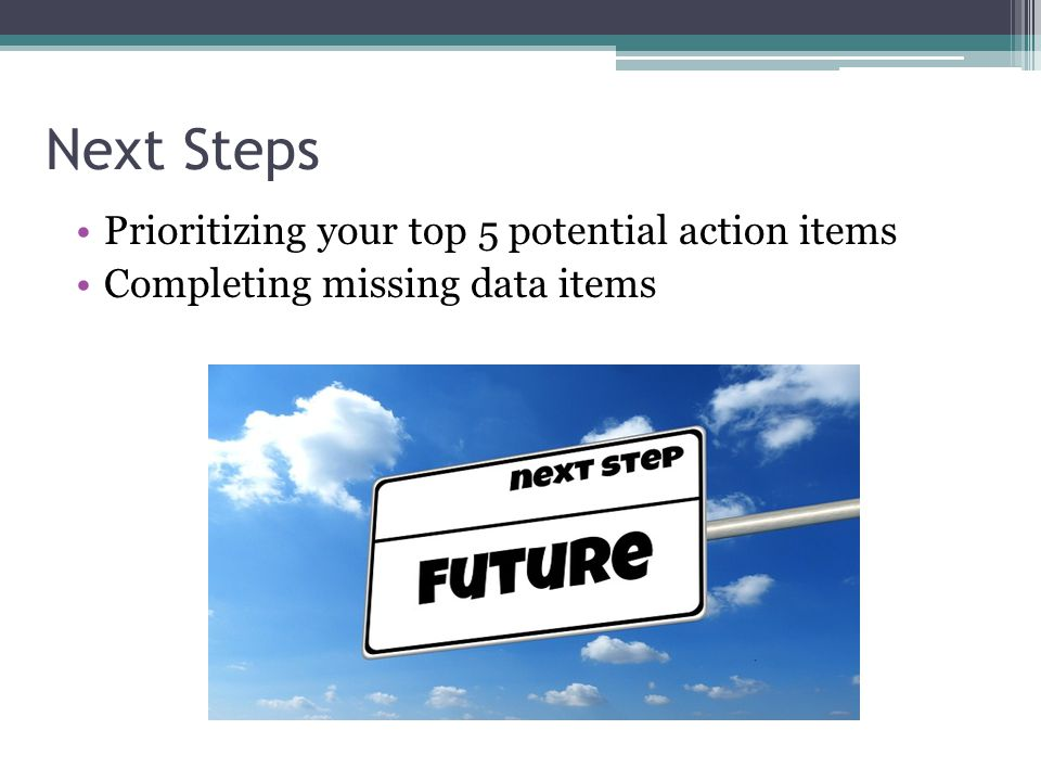 Next Steps Prioritizing your top 5 potential action items Completing missing data items