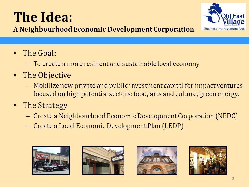 The Idea: A Neighbourhood Economic Development Corporation The Goal: – To create a more resilient and sustainable local economy The Objective – Mobilize new private and public investment capital for impact ventures focused on high potential sectors: food, arts and culture, green energy.