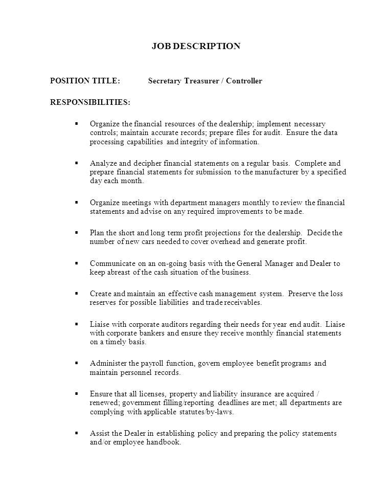 job profile of document controller corporate health and safety – Treasurer Job Description