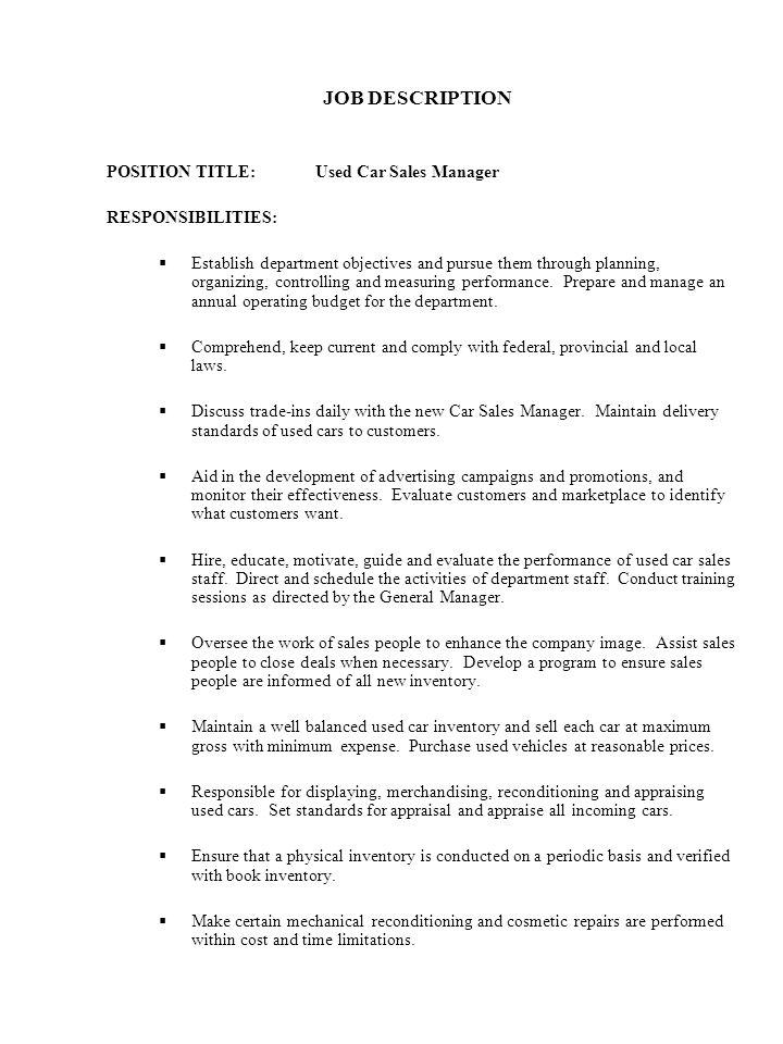 auto sales manager job description - Template