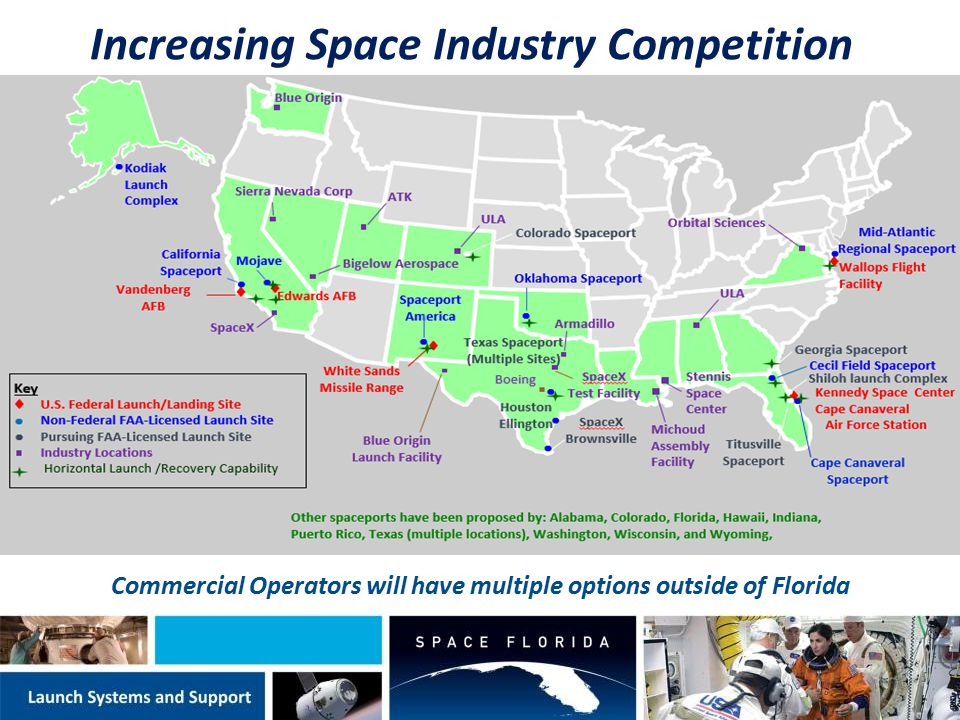 Commercial Operators will have multiple options outside of Florida Increasing Space Industry Competition