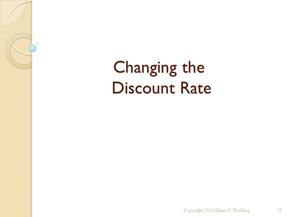 Changing the Discount Rate Copyright 2014 Diane S. Docking10