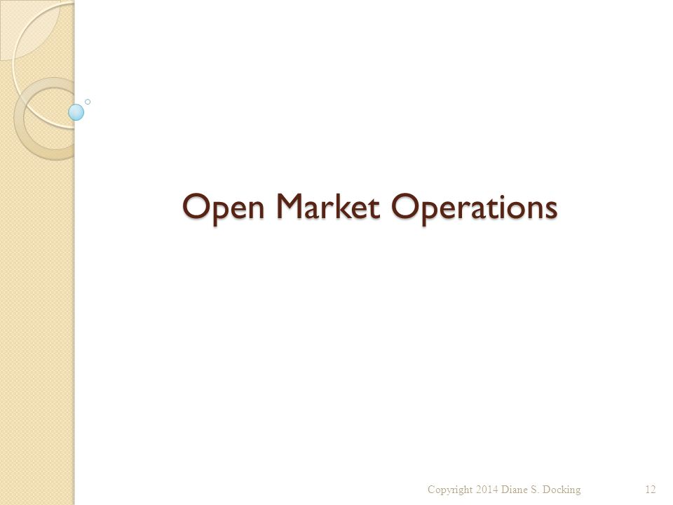 Open Market Operations Copyright 2014 Diane S. Docking12