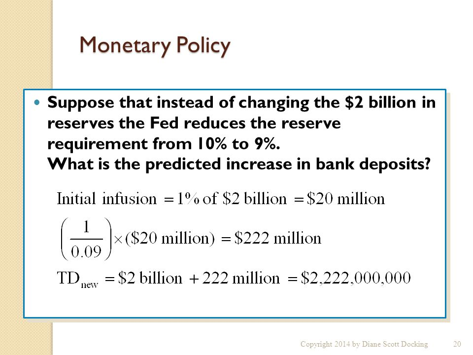 Monetary Policy Suppose that instead of changing the $2 billion in reserves the Fed reduces the reserve requirement from 10% to 9%.