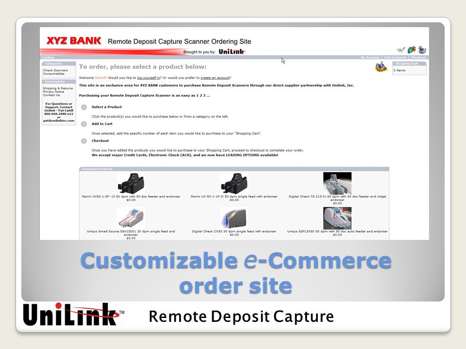 Customizable e -Commerce order site Remote Deposit Capture