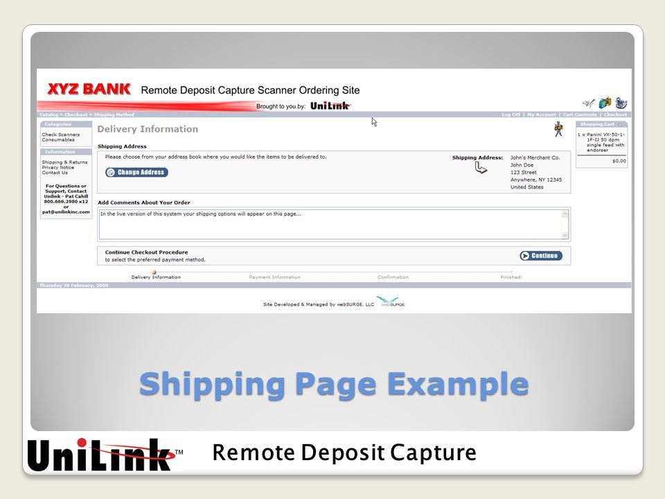 Shipping Page Example Remote Deposit Capture