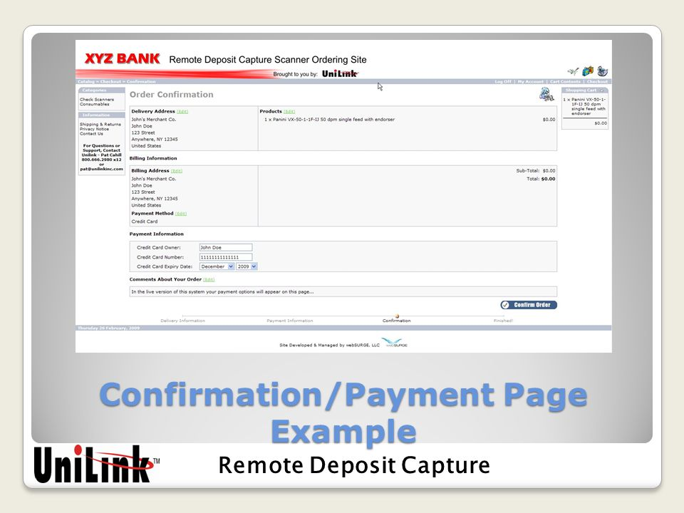 Confirmation/Payment Page Example Remote Deposit Capture