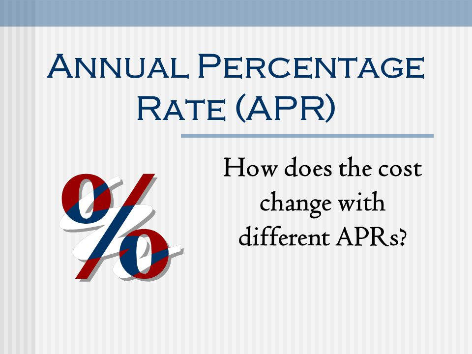 Annual Percentage Rate (APR) How does the cost change with different APRs