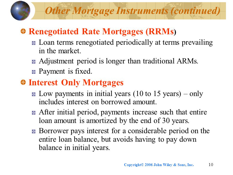 Copyright© 2006 John Wiley & Sons, Inc.10 Other Mortgage Instruments (continued) Renegotiated Rate Mortgages (RRMs ) Loan terms renegotiated periodically at terms prevailing in the market.