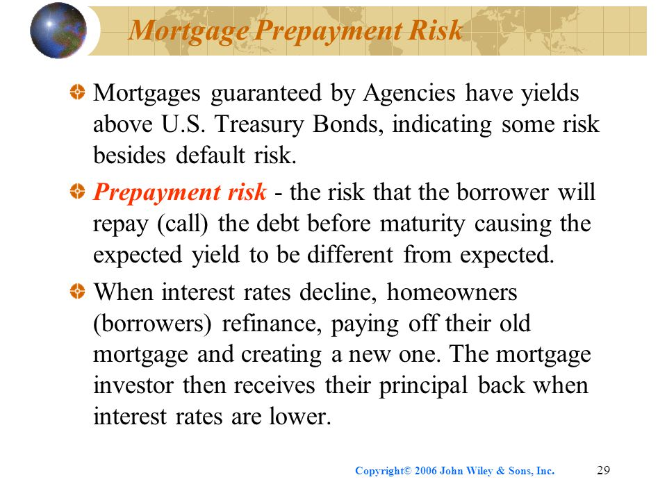 Copyright© 2006 John Wiley & Sons, Inc.29 Mortgage Prepayment Risk Mortgages guaranteed by Agencies have yields above U.S.