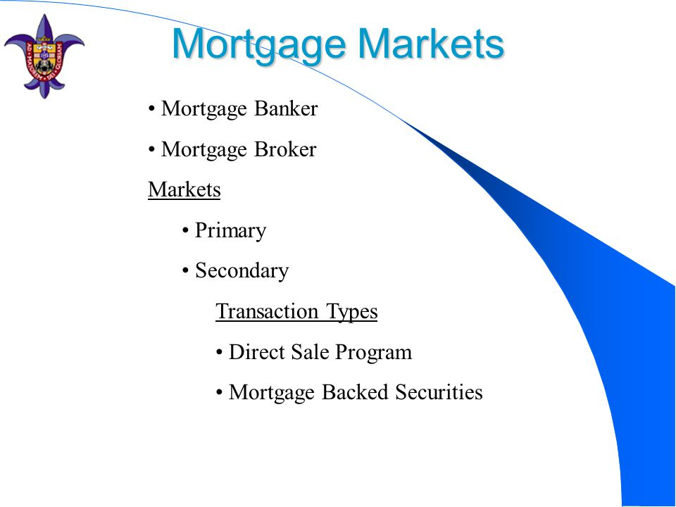Mortgage Markets Mortgage Banker Mortgage Broker Markets Primary Secondary Transaction Types Direct Sale Program Mortgage Backed Securities