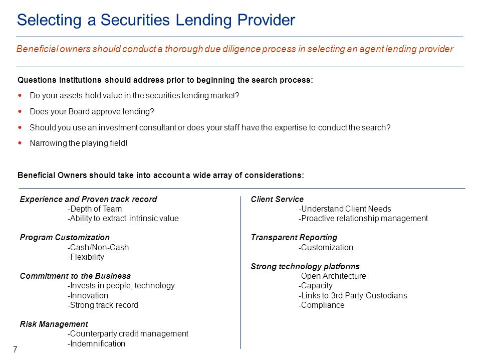 Selecting a Securities Lending Provider Questions institutions should address prior to beginning the search process: Do your assets hold value in the securities lending market.