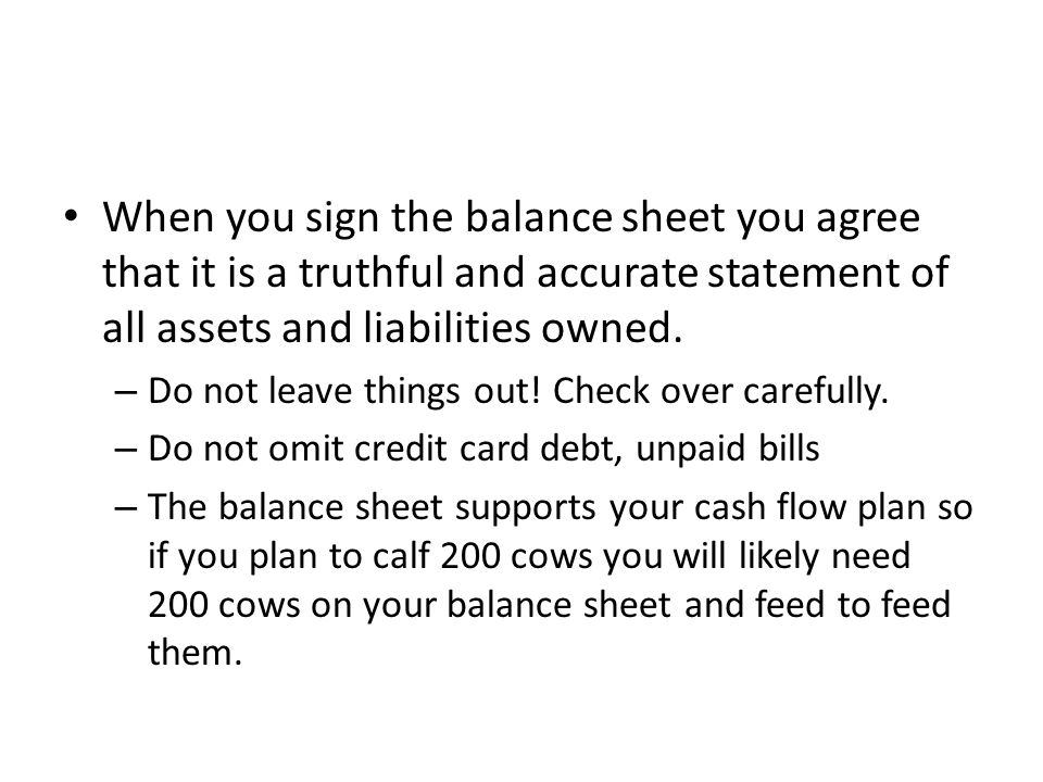 When you sign the balance sheet you agree that it is a truthful and accurate statement of all assets and liabilities owned.