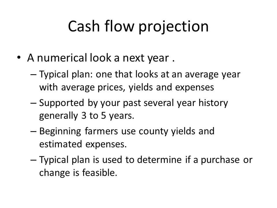 Cash flow projection A numerical look a next year.