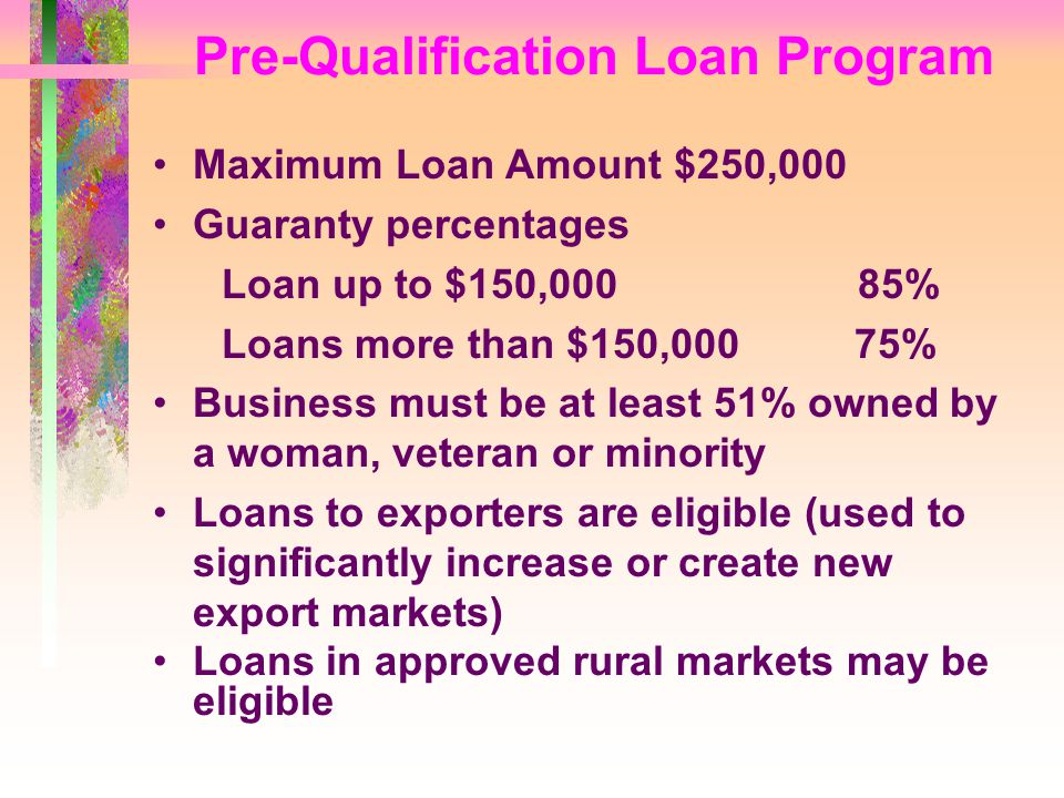 Pre-Qualification Loan Program Maximum Loan Amount $250,000 Guaranty percentages Loan up to $150,000 85% Loans more than $150,000 75% Business must be at least 51% owned by a woman, veteran or minority Loans to exporters are eligible (used to significantly increase or create new export markets) Loans in approved rural markets may be eligible