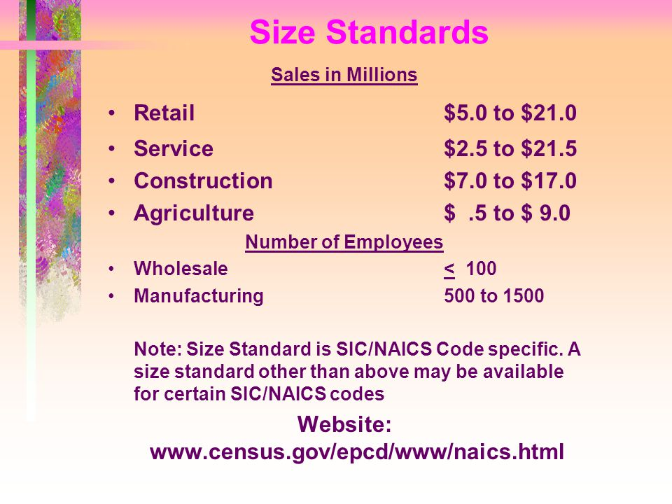 Sales in Millions Retail$5.0 to $21.0 Service$2.5 to $21.5 Construction$7.0 to $17.0 Agriculture$.5 to $ 9.0 Number of Employees Wholesale< 100 Manufacturing500 to 1500 Note: Size Standard is SIC/NAICS Code specific.
