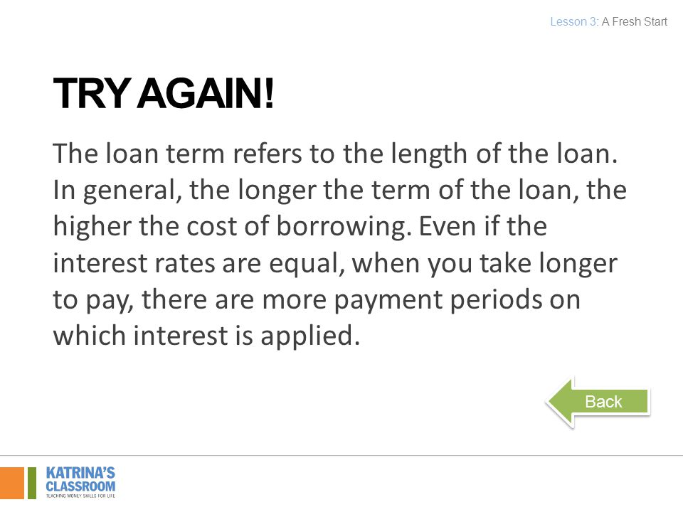 The loan term refers to the length of the loan.