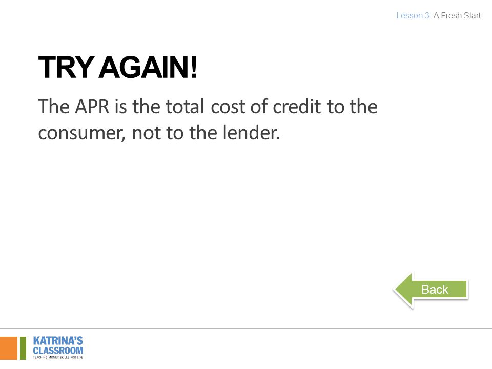 The APR is the total cost of credit to the consumer, not to the lender.