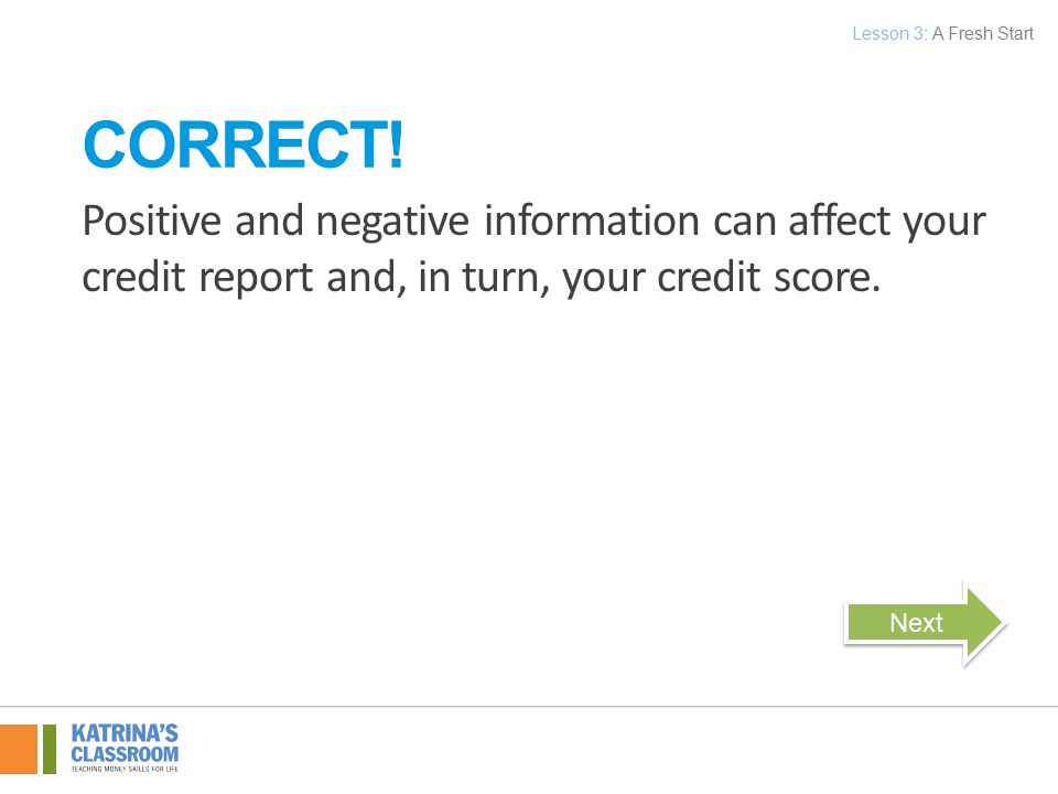 Positive and negative information can affect your credit report and, in turn, your credit score.