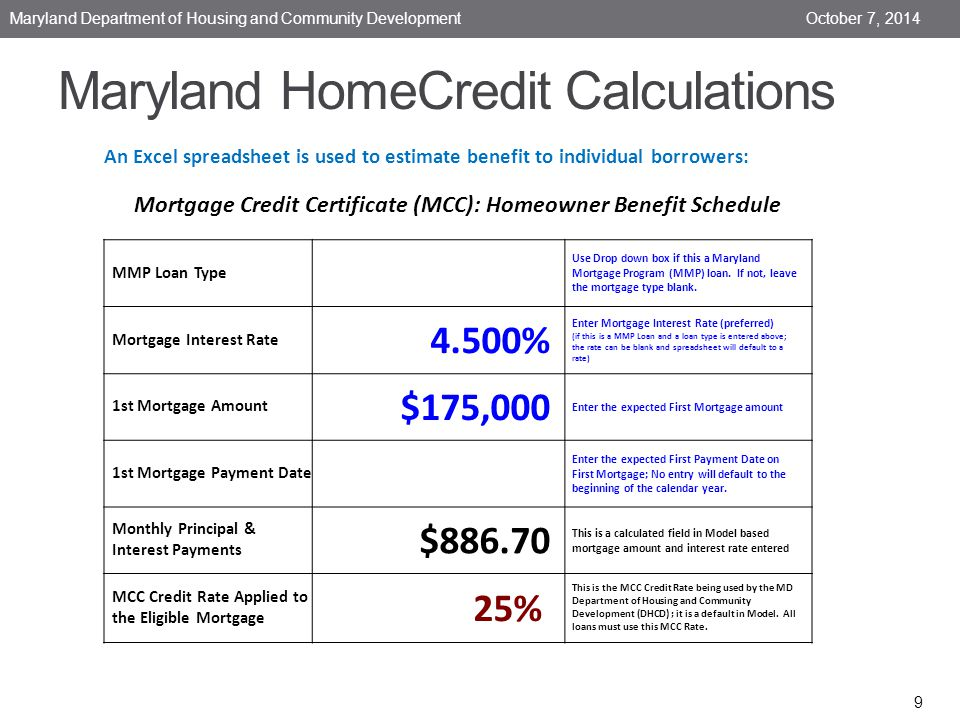 Maryland HomeCredit Calculations October 7, 2014 Maryland Department of Housing and Community Development 9 An Excel spreadsheet is used to estimate benefit to individual borrowers: Mortgage Credit Certificate (MCC): Homeowner Benefit Schedule 4.250%4.625%4.875% MMP Loan Type Use Drop down box if this a Maryland Mortgage Program (MMP) loan.