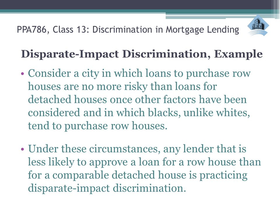 Ppa786 Urban Policy Class 13 Discrimination In Mortgage Lending