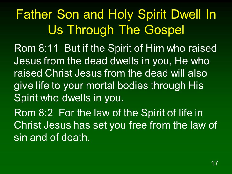 17 Father Son and Holy Spirit Dwell In Us Through The Gospel Rom 8:11 But if the Spirit of Him who raised Jesus from the dead dwells in you, He who raised Christ Jesus from the dead will also give life to your mortal bodies through His Spirit who dwells in you.
