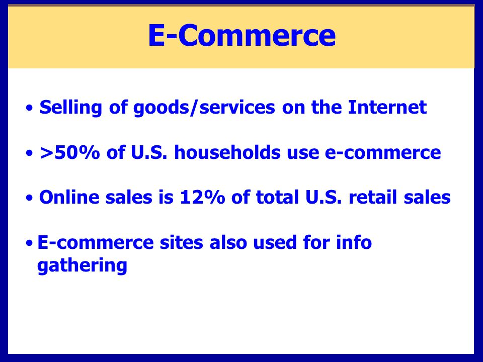 E-Commerce Selling of goods/services on the Internet >50% of U.S.