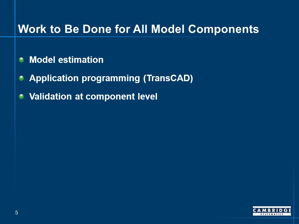 Work to Be Done for All Model Components Model estimation Application programming (TransCAD) Validation at component level 5