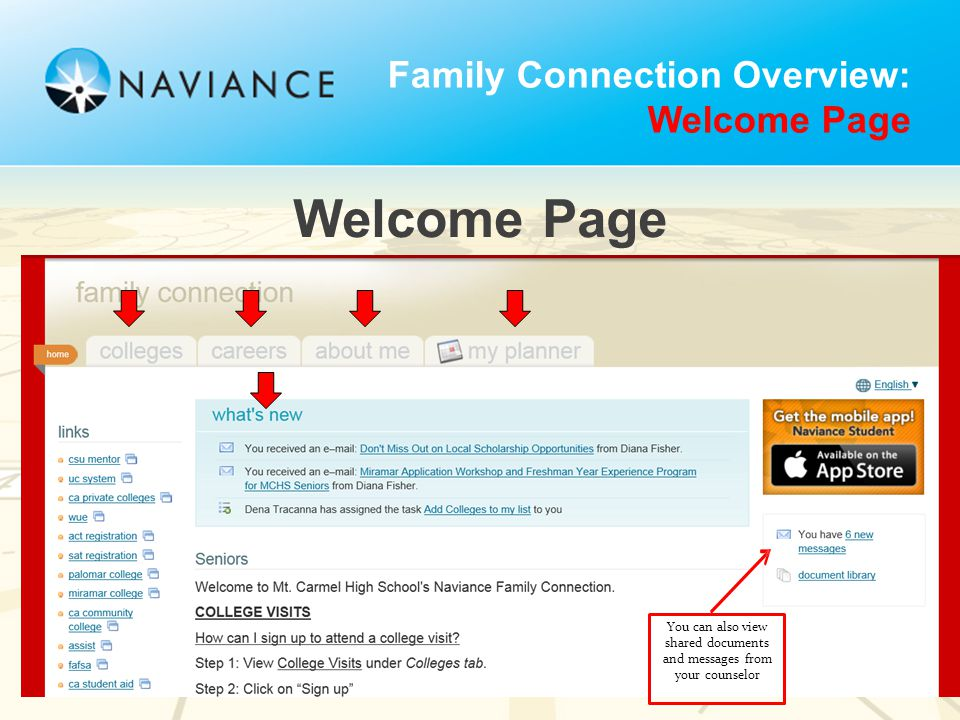 Welcome Page Family Connection Overview: Welcome Page You can also view shared documents and messages from your counselor