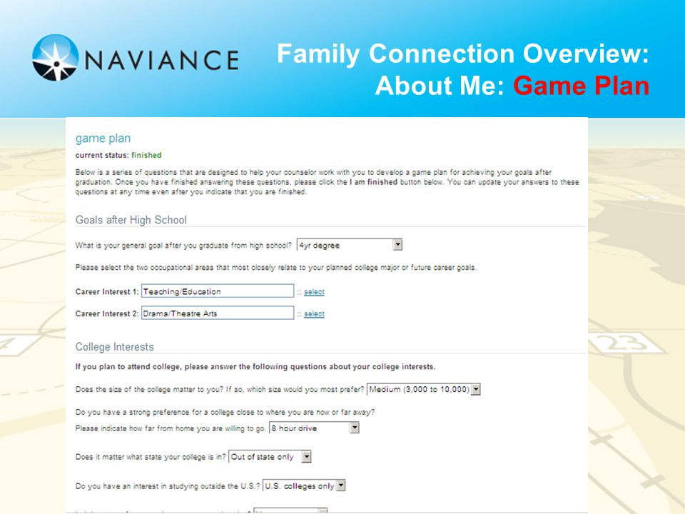 Family Connection Overview: About Me: Game Plan