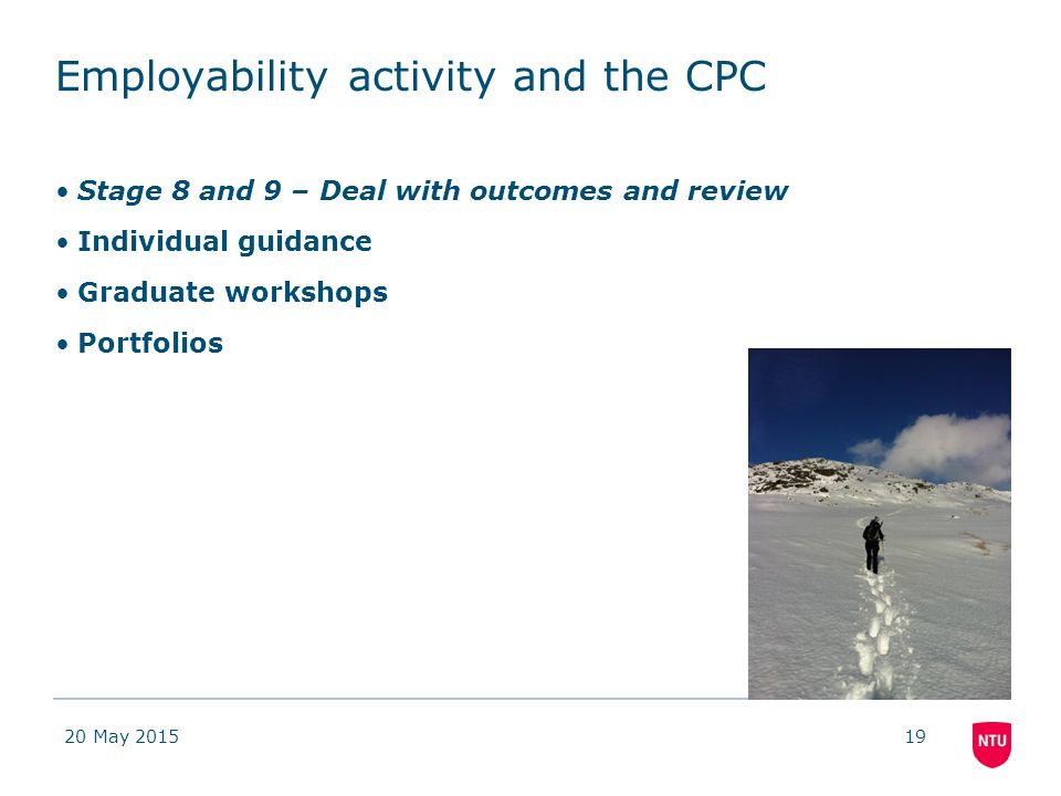 Employability activity and the CPC Stage 8 and 9 – Deal with outcomes and review Individual guidance Graduate workshops Portfolios 20 May