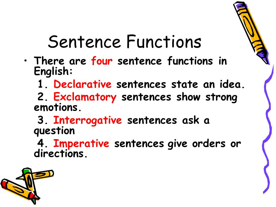 Sentence Functions There are four sentence functions in English: 1.