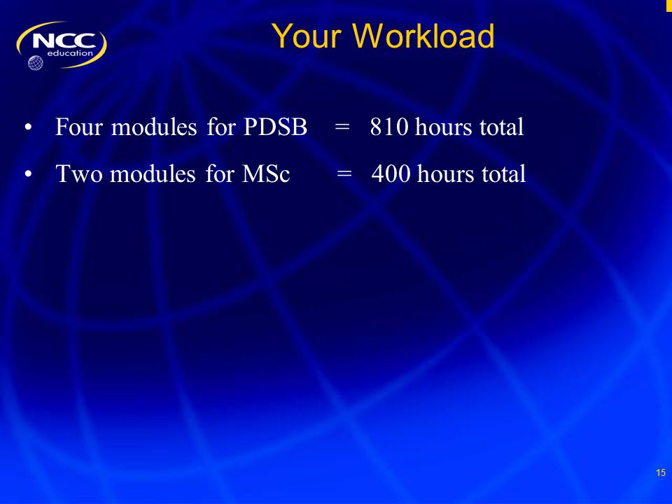 15 Your Workload Four modules for PDSB = 810 hours total Two modules for MSc = 400 hours total