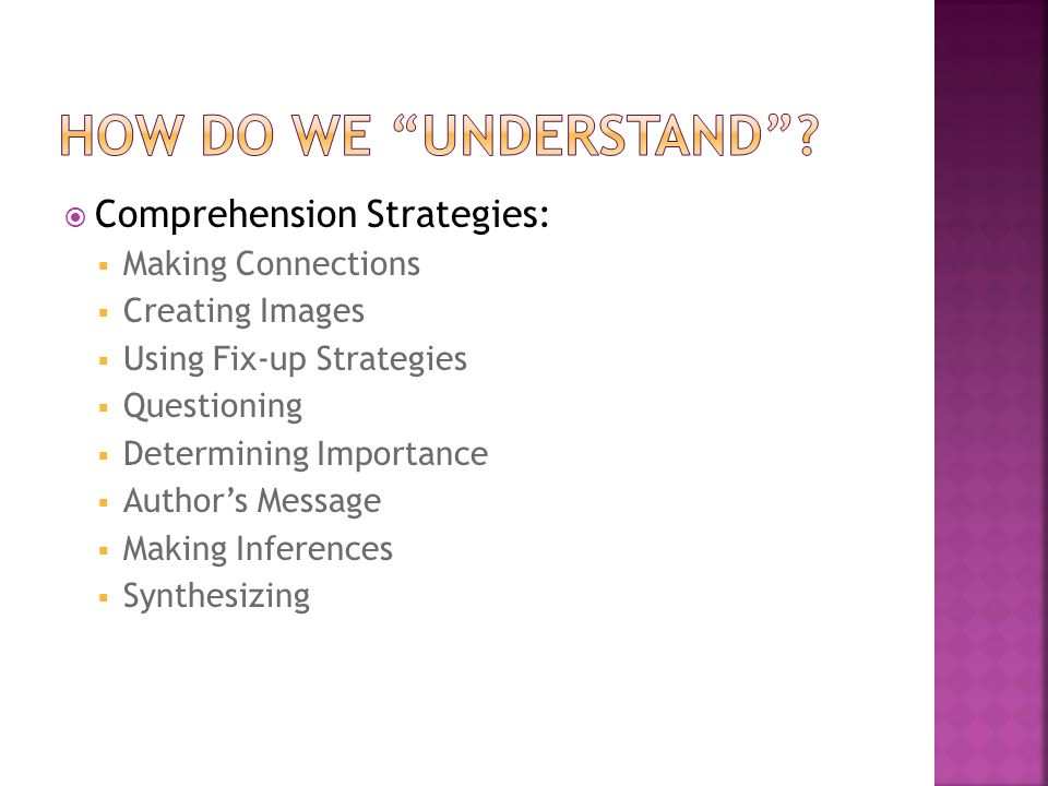  Comprehension Strategies:  Making Connections  Creating Images  Using Fix-up Strategies  Questioning  Determining Importance  Author's Message  Making Inferences  Synthesizing