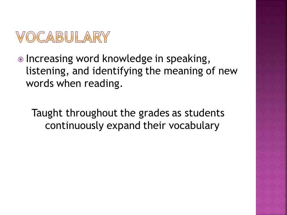  Increasing word knowledge in speaking, listening, and identifying the meaning of new words when reading.