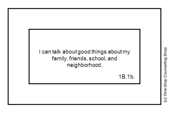 I can talk about good things about my family, friends, school, and neighborhood. 1B.1b.