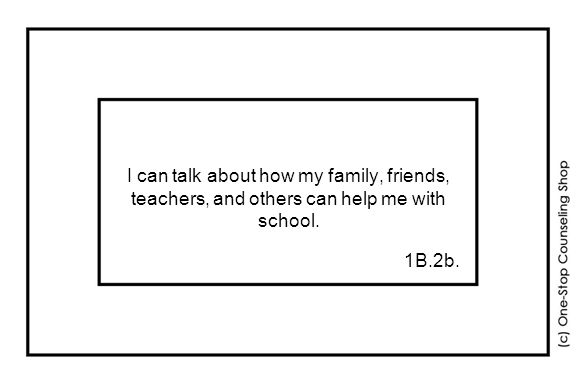 I can talk about how my family, friends, teachers, and others can help me with school. 1B.2b.