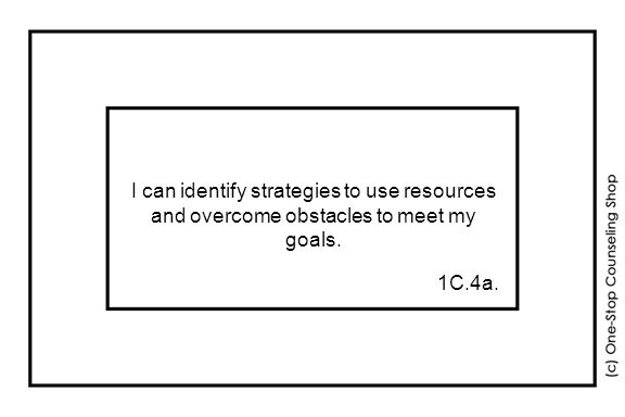 I can identify strategies to use resources and overcome obstacles to meet my goals. 1C.4a.