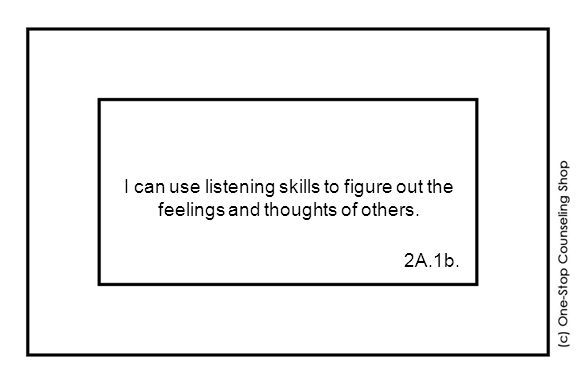 I can use listening skills to figure out the feelings and thoughts of others. 2A.1b.
