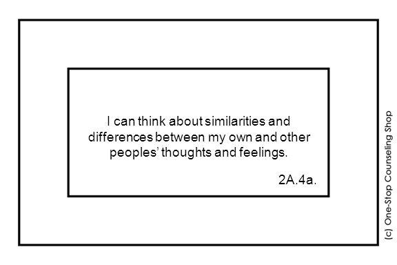 I can think about similarities and differences between my own and other peoples' thoughts and feelings.