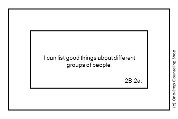 I can list good things about different groups of people. 2B.2a.