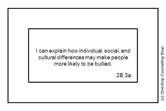 I can explain how individual, social, and cultural differences may make people more likely to be bullied.
