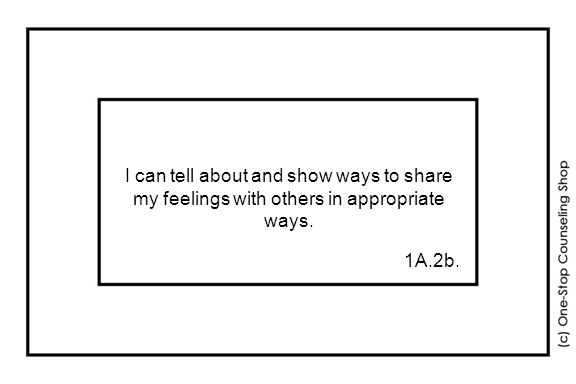 I can tell about and show ways to share my feelings with others in appropriate ways. 1A.2b.