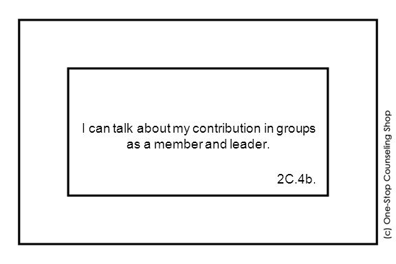 I can talk about my contribution in groups as a member and leader. 2C.4b.